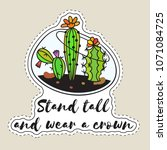 sticker with cactuses in... | Shutterstock .eps vector #1071084725
