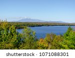 View from the Cole Overlook across Salmon Stream Lake toward Mount Katahdin in Baxter State Park. The overlook is on the northbound side of I-95 at mile marker 252.
