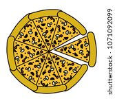 color delicious pizza fastfood... | Shutterstock .eps vector #1071092099