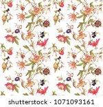 pattern flower textile | Shutterstock . vector #1071093161