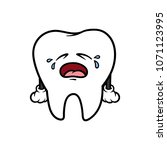 cartoon crying tooth character | Shutterstock .eps vector #1071123995
