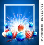 balloons and confetti in the... | Shutterstock .eps vector #1071127781