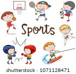 different sports on white... | Shutterstock .eps vector #1071128471