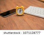 top view of a desk designer... | Shutterstock . vector #1071128777