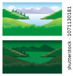 cartoon landscape day and night ... | Shutterstock .eps vector #1071130181