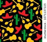 festive outline mexican symbols ... | Shutterstock .eps vector #1071137225