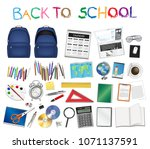 set a real of back to school... | Shutterstock .eps vector #1071137591