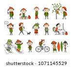 city life  people activity set  ... | Shutterstock .eps vector #1071145529