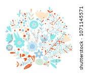 floral frame  sketch for your... | Shutterstock .eps vector #1071145571