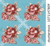 seamless floral pattern with... | Shutterstock .eps vector #1071147809