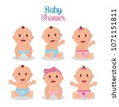 baby shower boy and girl | Shutterstock .eps vector #1071151811
