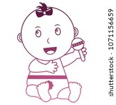 baby girl with diaper and... | Shutterstock .eps vector #1071156659
