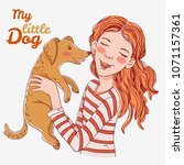 cute girl with funny dog.... | Shutterstock .eps vector #1071157361