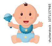 baby girl with diaper and... | Shutterstock .eps vector #1071157985