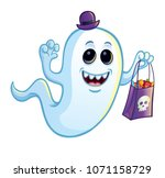 silly ghost with trick or treat ...   Shutterstock .eps vector #1071158729
