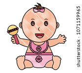 baby girl with diaper and... | Shutterstock .eps vector #1071159965