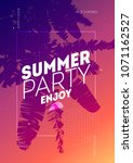 a4 poster for summer and beach... | Shutterstock .eps vector #1071162527