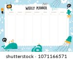 vector weekly planner with cute ... | Shutterstock .eps vector #1071166571