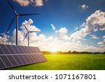 new energy  solar and wind... | Shutterstock . vector #1071167801