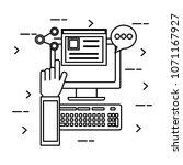 desktop computer with social... | Shutterstock .eps vector #1071167927