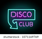 night club glowing neon letters ... | Shutterstock .eps vector #1071169769