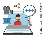 laptop avatar chat bubble... | Shutterstock .eps vector #1071174857