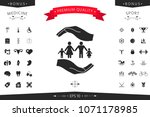 hands holding a symbol of... | Shutterstock .eps vector #1071178985