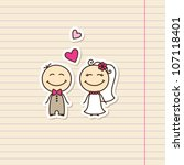 wedding card with cartoon groom ... | Shutterstock .eps vector #107118401