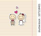 wedding card with cartoon groom ... | Shutterstock .eps vector #107118401