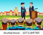 university grand graduate... | Shutterstock .eps vector #1071189785