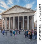 Small photo of Pantheon Basilica, Rome, Italy-March 28, 2018: The large pronaos (or portico) in front of the entrance of the Pantheon Basilica, comprising eight columns at the front and three at the sides