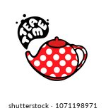 Red Teapot With Dots Pattern....