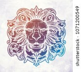 head of lion. isolated vector... | Shutterstock .eps vector #1071200549