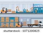 manufacturing warehouse... | Shutterstock .eps vector #1071200825