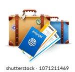 retro suitcases  passport and... | Shutterstock .eps vector #1071211469