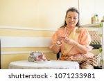women wear thailand national...   Shutterstock . vector #1071233981