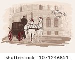horse drawn carriage  building. ... | Shutterstock .eps vector #1071246851