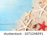 summer travel background from... | Shutterstock . vector #1071248591