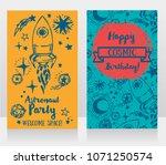 cute hand drawn rocket on stars ... | Shutterstock .eps vector #1071250574