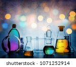 test glass flask with solution... | Shutterstock . vector #1071252914