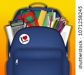 a student bag with study object ... | Shutterstock .eps vector #1071258245