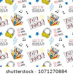 hand drawn music themed doodle... | Shutterstock .eps vector #1071270884