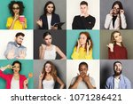 different emotions collage. set ... | Shutterstock . vector #1071286421