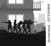 Military vector illustration, Army background, soldiers silhouettes, Artillery, Cavalry, Airborne, Close Quarter Battle.