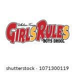 girls rules t shirt graphics ... | Shutterstock .eps vector #1071300119