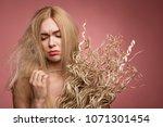 portrait of unhappy girl... | Shutterstock . vector #1071301454
