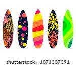 surfboards on a white...   Shutterstock .eps vector #1071307391