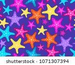 starfishes seamless pattern.... | Shutterstock .eps vector #1071307394