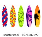 surfboards on a white... | Shutterstock .eps vector #1071307397