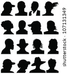 set of silhouettes of heads 5 ... | Shutterstock .eps vector #107131349